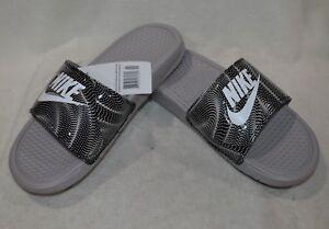 73d52e5d7943 Nike Benassi JDI Print Grey White Black Women s Slides Sandals-Size ...