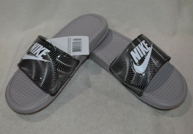 6c3f07ece Nike Benassi JDI Print Grey White Black Women s Slides Sandals-Size 7