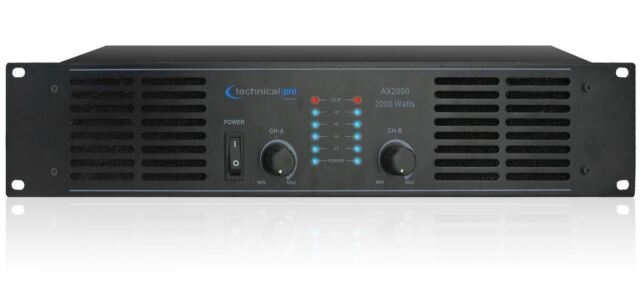 Technical Pro AX2000 2-Channel 2000 Watt Professional Power Amplifier  Rackmount