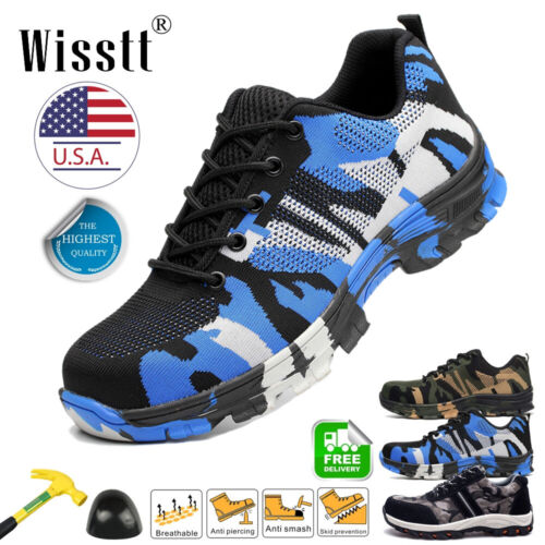 Men/'s Safety Military Work Shoes Steel Toe Breathable Boots Lightweight Sneakers