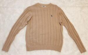 U-S-Polo-Assn-Logo-Men-039-s-Long-Sleeve-Heavy-Knit-Sweater-Size-XL