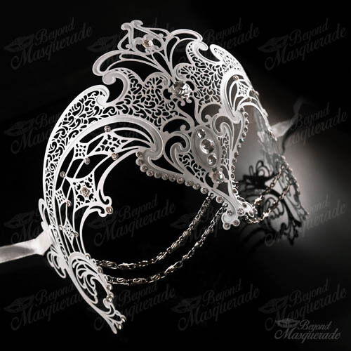 Womens Egyptian Chain Venetian Laser-Cut Filigree Metal Masquerade Mask White