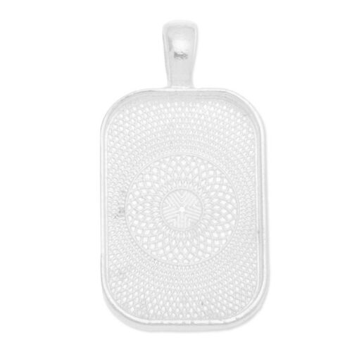 20Pcs Rectangular Bezel Pendant Blank Base Trays fit 20*30MM Glass Dome Cabochon