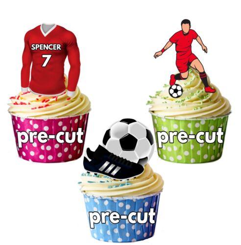 Precut Personnalisé Football Party Pack gâteau Toppers Décoration Liverpool couleur