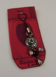 Bling-Black-amp-Silver-Dangle-Cell-phone-charm-or-purse