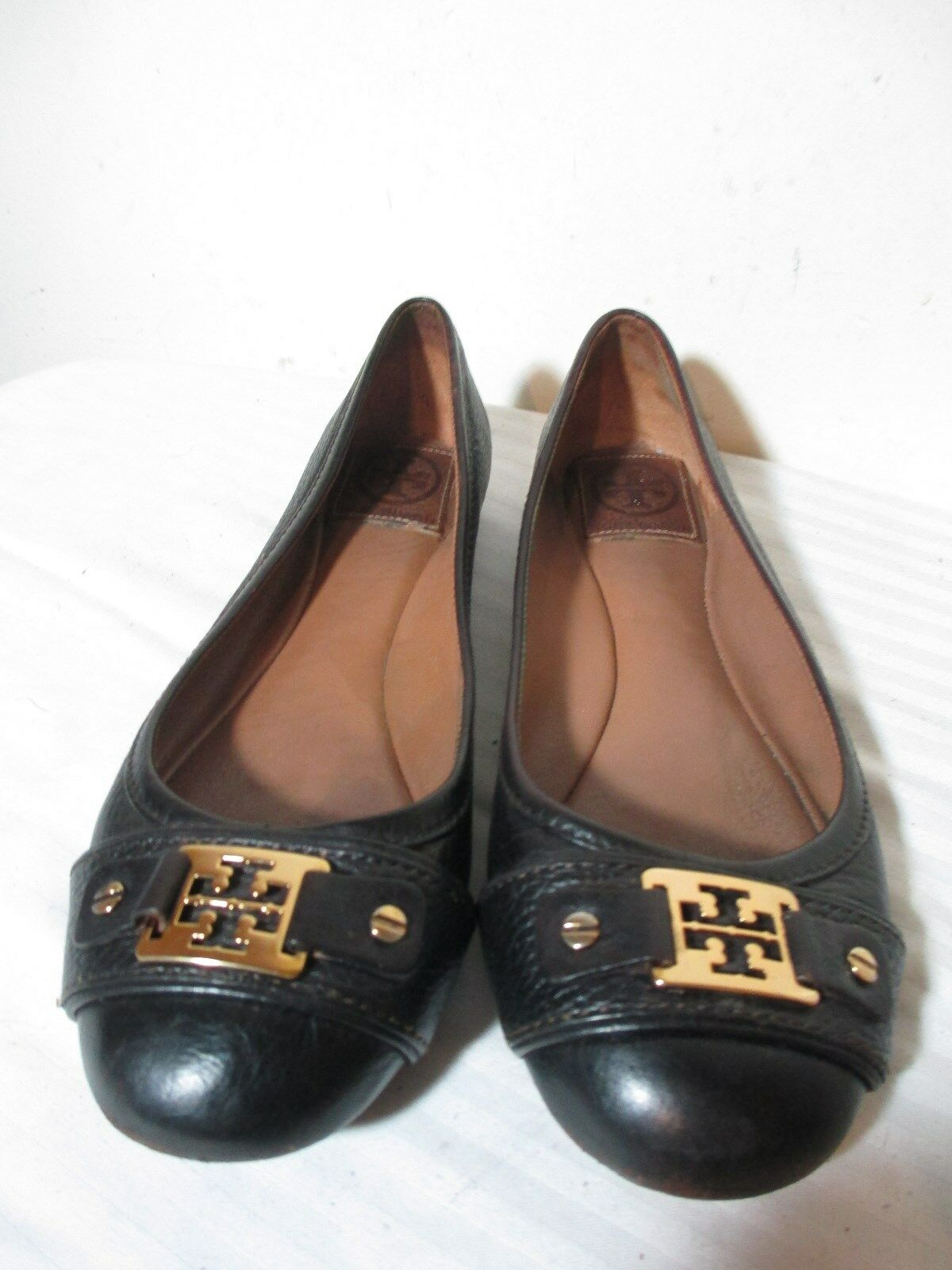 TORY BURCH WOMEN'S DARK BROWN LEATHER FLATS SZ 7M MADE IN BRAZIL