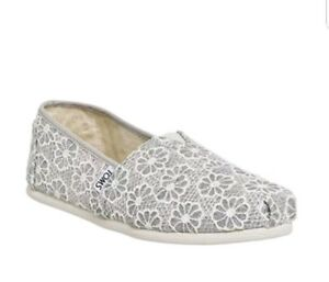 Toms Womens Silver Crochet Glitter Slip On Casual Canvas Uk 5 Ebay