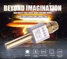 KTV Microphone Wireless Bluetooth GOLD Q9 Karaoke Player speaker For Cellphone