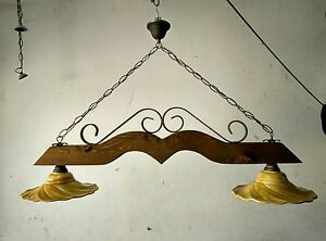 Lampadario Rustico In Ferro Battuto : Lampadario rustico in ferro battuto e legno mod.bilanciere 2 luci