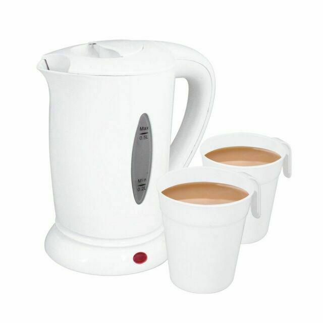 NEW 0.5LITRE DUAL 240V SMALL ELECTRIC TRAVEL KETTLE 2 CUPS IN WHITE COLOUR
