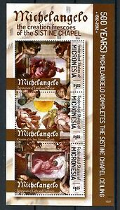 Micronesia 2012 MNH Michelangelo Sistine Chapel Ceiling 3v M/S Art Stamps
