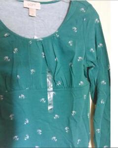NWT-Ann-Taylor-Loft-Swallows-Print-Scoop-Neck-Long-Sleeve-Tee-Top-30-NEW-Green