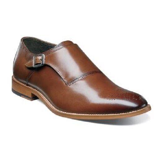 Stacy Adams Mens schuhe Dinsmore Plain Toe Monk Strap Cognac Leather 25065-221
