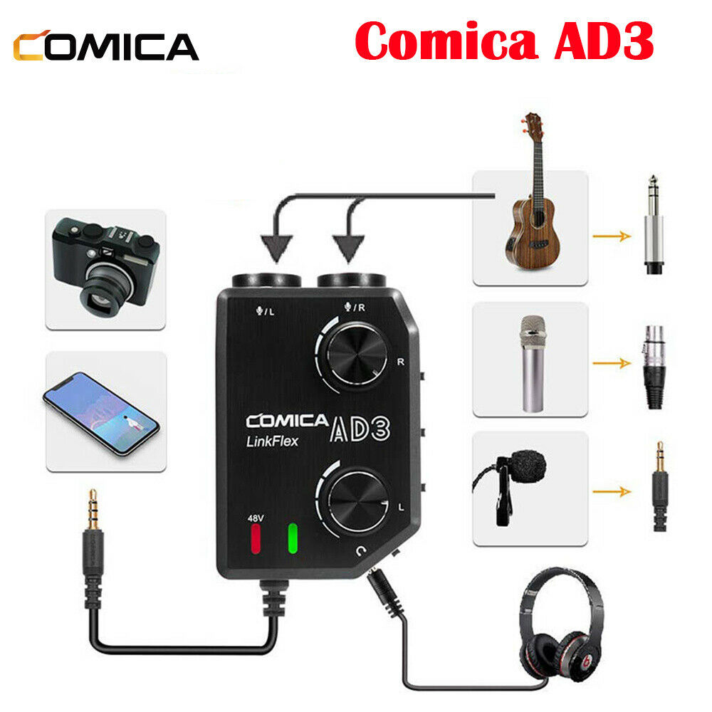 COMICA AD3 Microphone Audio Preamp Mixer 2-Channels for iPad Smartphone Camera