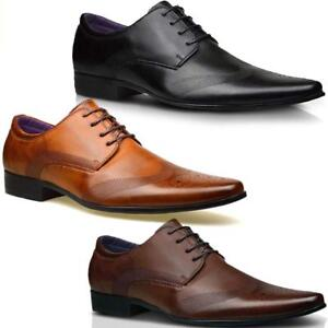 Mens Leather Lined Italian Casual Formal Brogues Office Smart Derby Shoes Boots