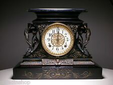 Antique Ansonia Rosalind Black Enamel on Iron Case Mantel Clock - USA New York