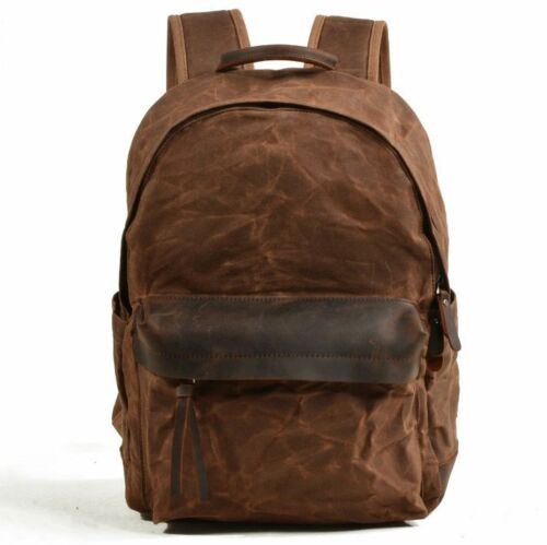 Men/'s Waterproof Oil Wax Canvas+Real Leather Backpack Sport Travel Bag Book Bag