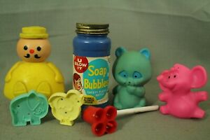 lot-vintage-toys-blue-bear-squeek-crest-toothpaste-Pink-Elephant-bubble-pipe