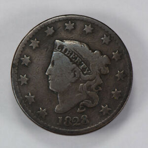1828 1c CORONET HEAD LARGE CENT, NICE DETAIL EARLY COPPER COIN LOT#N447