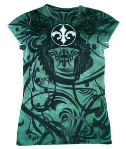 Tie-Dye-USA-Teal-Green-Black-Fleur-De-Lis-Juniors-Girl-039-s-Teen-Sublimation-Shirt