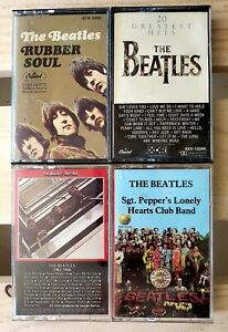 Lot of (4) BEATLES Cassettes - Rubber Soul - Sgt. Pepper's Lonely Hearts Club