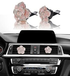 Details about Bling Pink Car Accessories Interior Decoration for Girls  Women Crystal Flowers