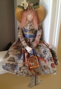 Unique-Fabric-Cloth-Doll-With-Straw-Hat-and-Birdcage-from-the-early-90s