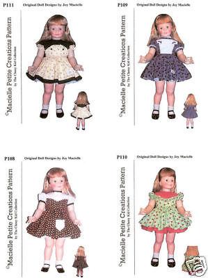 "Vtg Pattern Life Size Doll Clothes Dress Coat Hat ~ 28/"" Patti Patty Playpal 1yr"