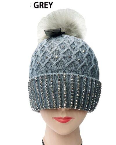 Warm Winter Ski Beanie Hat Stud Knit Bead Fur Pom Pom Shiny Crystal Honeycomb