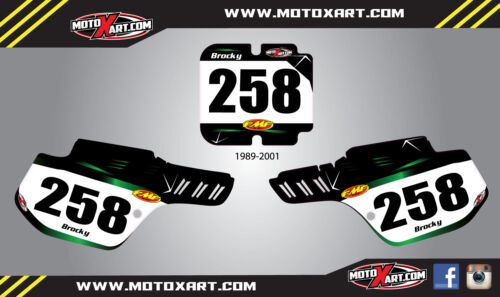 decals Kawasaki KX 500 1989-2001 Custom number plates BARBED style stickers