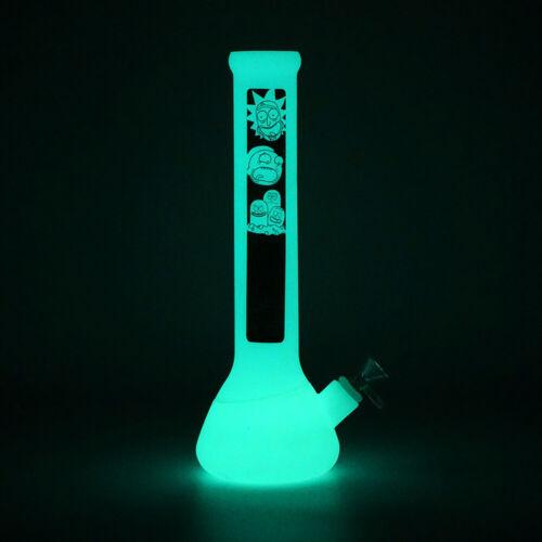 1x Hookah Smoke Shisha Bong Glass 13/'/' Glow In The Dark Vase Silicone Water Pipe