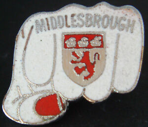 MIDDLESBROUGH-FC-Vintage-1970s-80s-badge-Maker-AEW-B-039-ham-Brooch-Pin-26mm-x-24mm