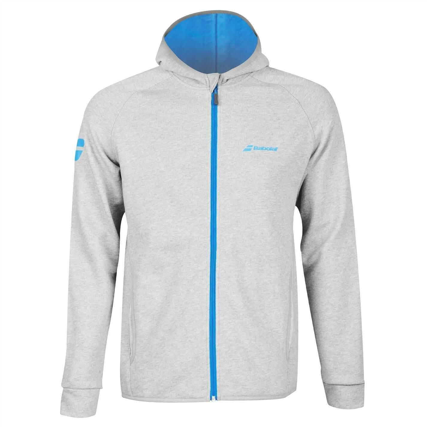 Babolat Mens Core Hood Tennis Top Pullover Sweater Jumper Hooded Zip