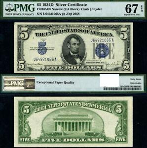 FR-1654-N-5-1934-D-Silver-Certificate-U-A-Block-Narrow-Superb-Gem-PMG-67-EPQ