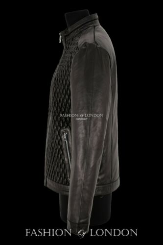 Homme Veste en Cuir Noir Élastique Diamant Matelassé sur le devant Racer Jacket 465-S