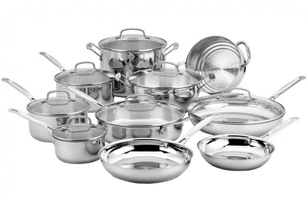 Cuisinart Cookware Set Chefs Classic 17-Piece Solid Cast Stainless Steel New