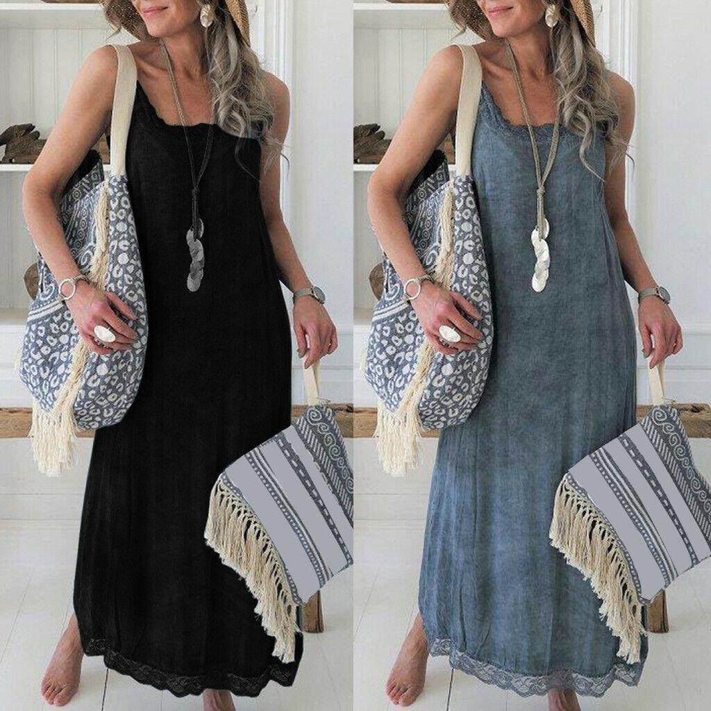Womens HOT Sleeveless Strappy Sundress Beach Party Evening Long Maxi Slip Dress