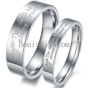 Silver-Stainless-Steel-Stone-Mandrel-Heart-Couples-Lovers-Ring-Wedding-Band