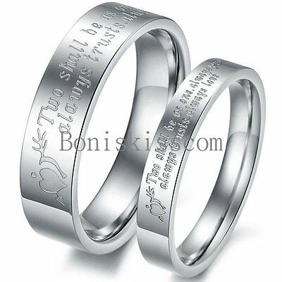 Silver Stainless Steel Stone Mandrel Heart Couples Lovers Ring Wedding Band