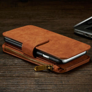 All-in-One-Zip-Wallet-Coin-Man-Woman-Purse-Flip-Leather-Magnet-Case-Cover