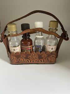 Vintage Tooled Leather Miniature Liquor Bottle Holder Made In Guatemala