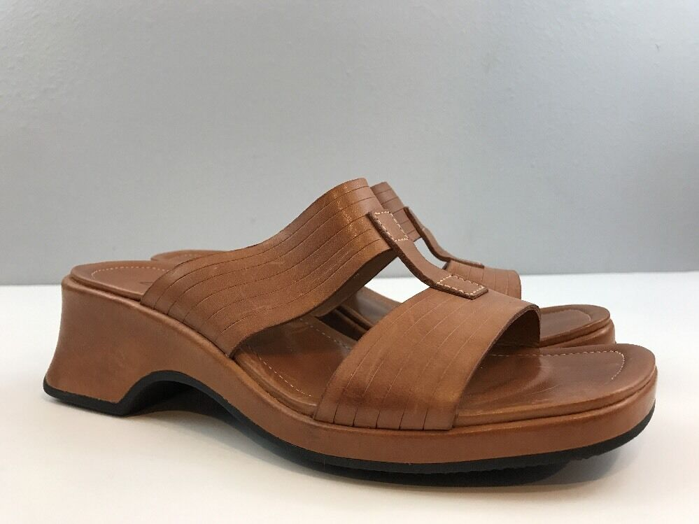 Clarks Womens Leather Slide Sandals Wedge Heel Open Toe Slip On shoes Brown 8 M
