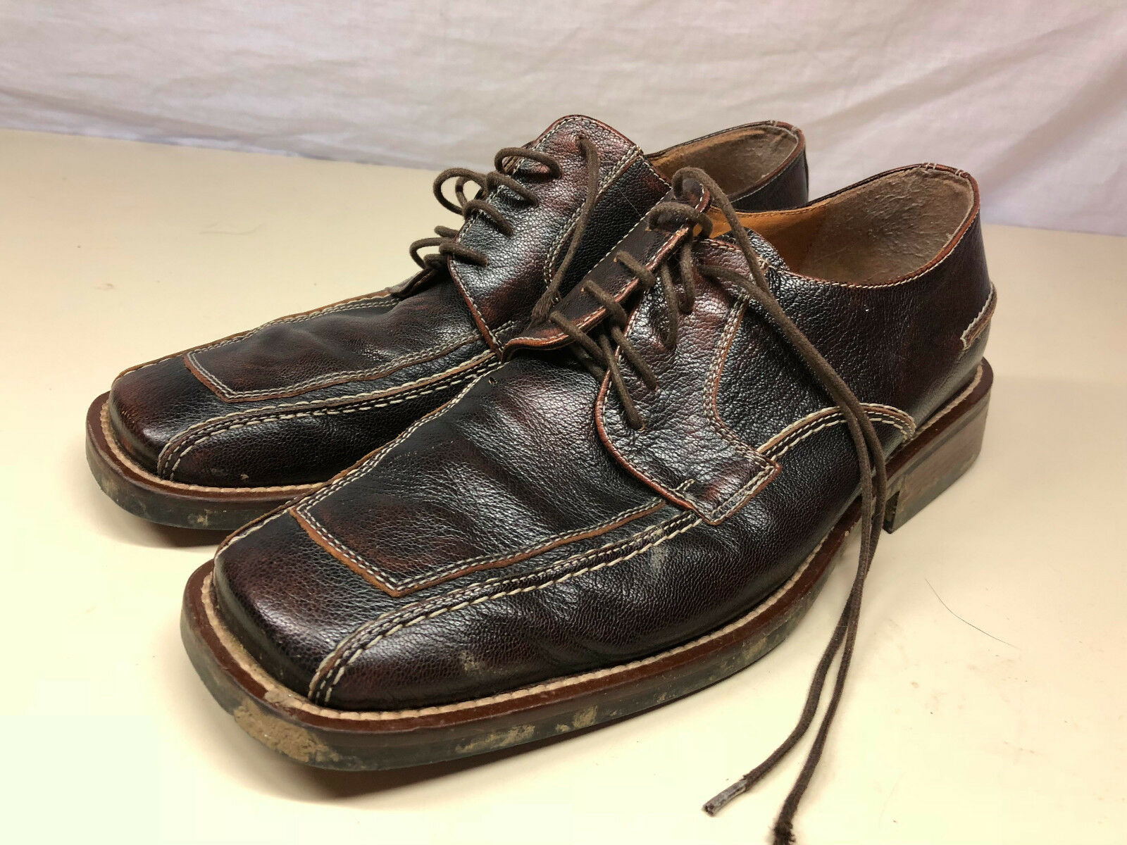Dolcis Dark Brown Leather Lace Tie Up Men's shoes Size 41 7.5 Business Attire