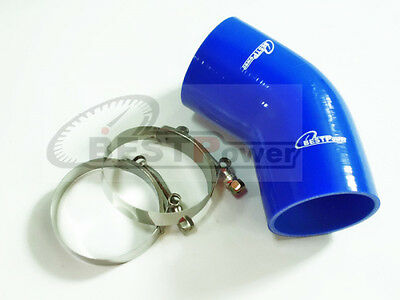 """2"""" to 2.36"""" Silicone 45 Degree 51mm - 60mm Elbow Reducer Pipe Hose + T Clamp"""