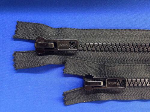 """ZIP open end 76 cm 30 /""""peso 10 dispositivo di scorrimento in metallo NERO a trama grossa HEAVY DUTY"""