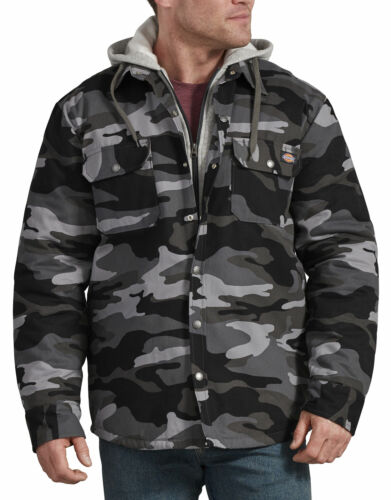 DICKIES MENS ICON HOODED DCK QUILTED SHIRT JACKET SLATE//GRAY CAMO TJ203SAC