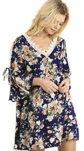 UMGEE-Womens-Navy-Floral-Crocheted-Long-Sleeve-Boho-Bohemian-Flowy-Dress-S-M-L