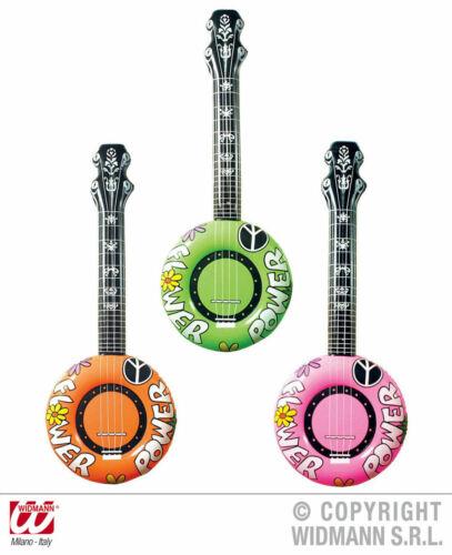 Chitarra Banjo Hippie Flower Power GONFIABILE COSTUME CARNEVALE CARNEVALE 80er NUOVO