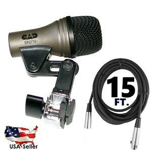 NEW-Snare-Drum-Mic-Microphone-CAD-SN210-Built-in-rim-claw-clip-15-039-XLR-cable