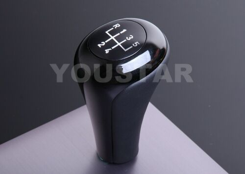 US STOCK Italian Leather Gloss Black for BMW 5 Speed Heavy M//T Gear Shift Knob